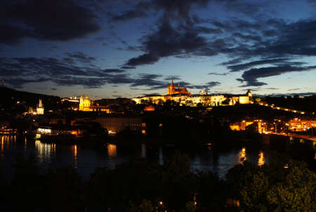 Beautiful panorama of  Prague Castle and Charles bridge, Czech Republic  photo