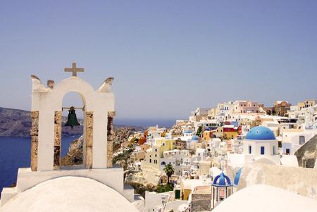 fira: Amazing white houses of Santorini, Greece, sunny summer day Stock Photo