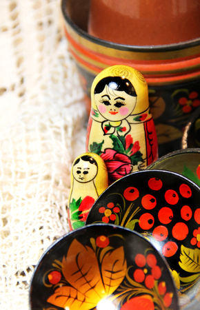 matriosca: Mix of traditional Russian Souvenirs and antique objects