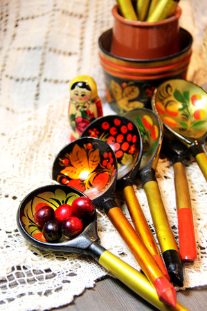 matrioska: Mix of traditional Russian Souvenirs and antique objects
