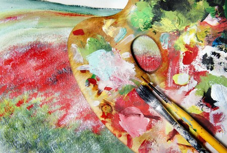 monet: Picture in impressionistic style and brushes Stock Photo