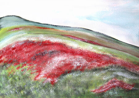 monet: Beautiful impressionistic picture of fields with red poppies