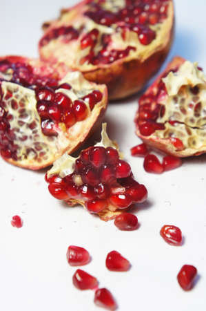 pulpy: Pieces of fresh juicy cuted pomegranate