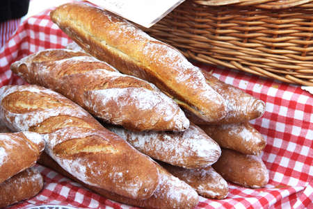 Baguettes and baked goods on the Mediterranean market