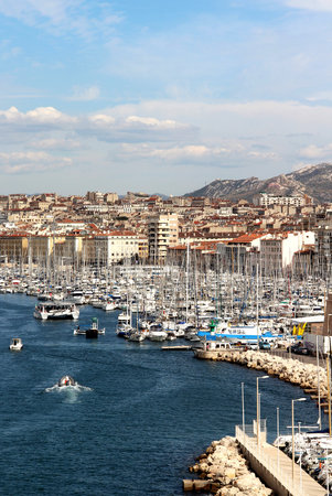 marina life: Beautiful view of Marseille, Provence, France Stock Photo