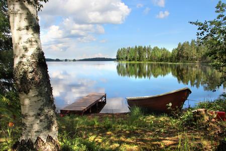 美丽的芬兰自然和渔业