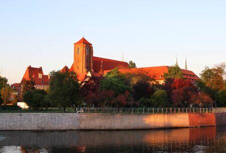 Beautiful view of Tumski island, Wroclaw, Poland Editorial