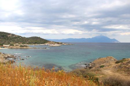 monastic: View of holy mount Athos, Sithonia, Chalkidiki