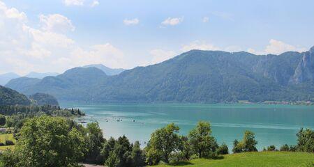 alpen: Amazing view of Mondsee in summer, Austria  Stock Photo
