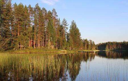 finnish bath: Typical Finnish house in the woods near lake, Karelia