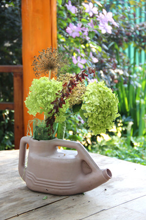 bloomy: Mix of beautiful flowers on the summer terrace