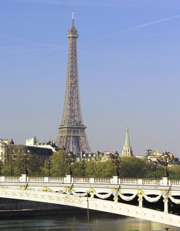 Riverside of Paris with Eiffel tower, France