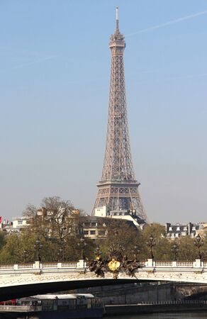 Riverside of Paris with Eiffel tower, France  Stock Photo