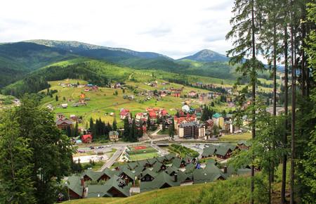 Beautiful view of Ukrainian mountains Carpathians, Bukovel resort Editorial