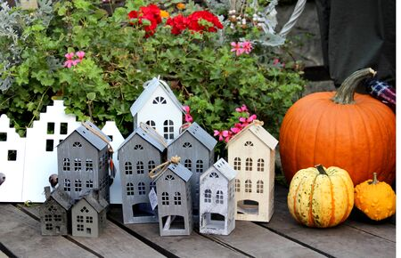 Mix of fall decorations with pumpkin and flowers Stock Photo