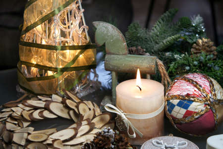 Beautiful Christmas decorations with burning candle
