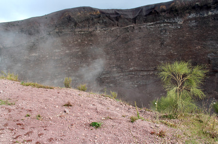 Beautiful view of a crater of Vesuvius, Campania, Italy