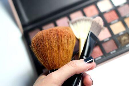 Palette de maquillage et mélange de pinceaux sur fond blanc