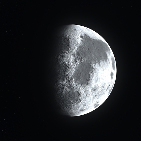 Big bright detailed half moon surface close up starting to go in a waning or waxing gibbous phase Stock Photo