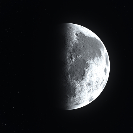 Big bright detailed half moon surface close up starting to go in a waning or waxing gibbous phase Archivio Fotografico