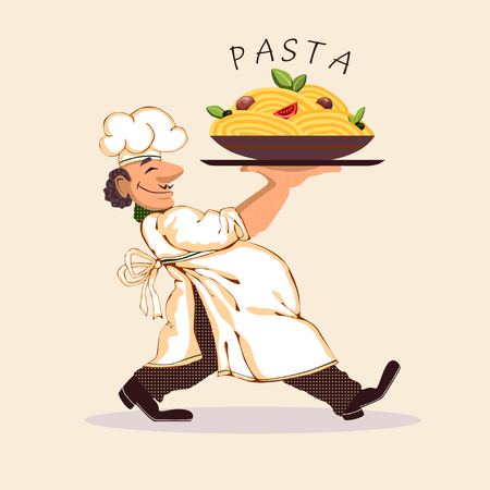 cartoon tomato: Cook pasta bright picture icon vector illustration Illustration