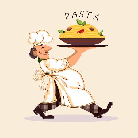 Cook pasta bright picture icon vector illustration Illustration