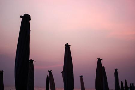 Twilight sky and umbrella in  the evening.