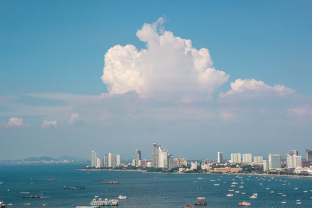 Pattaya city and many boats and ferry in the sea, capture from view point. (bird eye view) Stock Photo