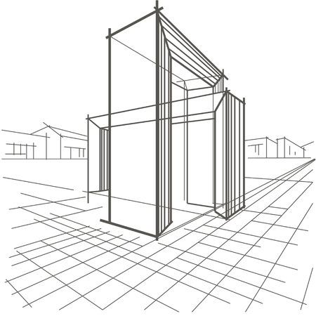 arquitecto: boceto lineal de la construcci�n arquitect�nica de dos arcos que se cruzan