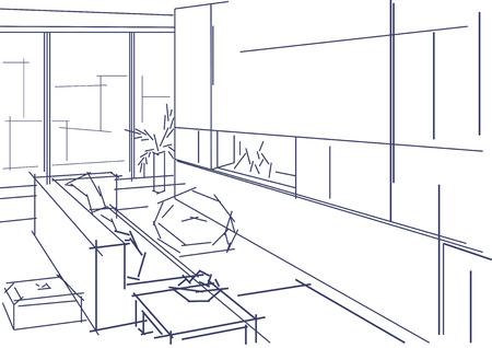 modern interior: Linear sketch of modern interior Illustration