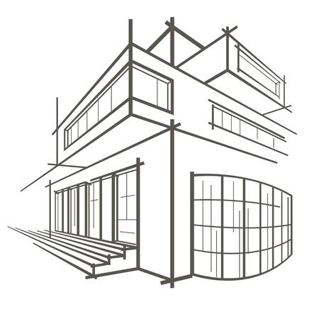 building sketch: Linear sketch of a building