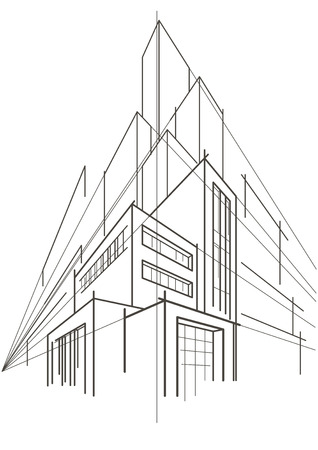 multistorey: abstract linear sketch of multi-storey building Illustration