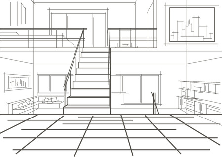 modern interior: linear sketch of modern interior of a flat in tree levels