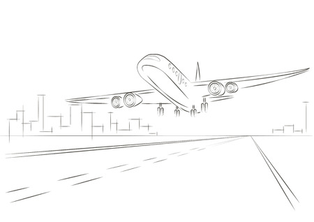 taking off: plano de boceto lineal despegar