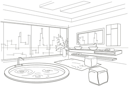건축 선형 스케치 욕실 인테리어 일러스트