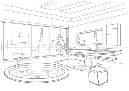bathroom interior: architectural linear sketch bathroom interior