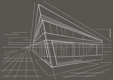 building sketch: architectural sketch of modern corner building on gray background
