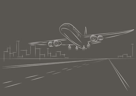 air liner: linear sketch plane taking off gray background