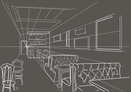 bar interior: linear interior sketch bar on gray background