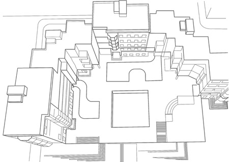 building sketch: architectural sketch of multistoried building top view