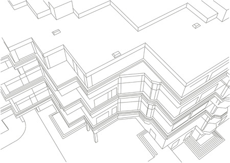 multistory: architectural linear sketch of multistory building Illustration