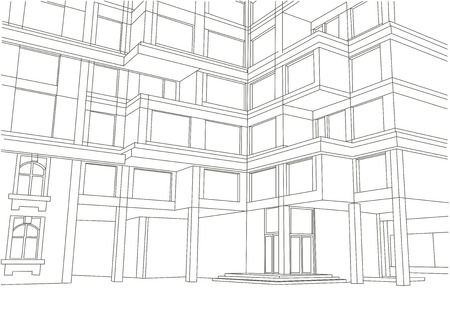 building sketch: architectural sketch large apartment building with balconies