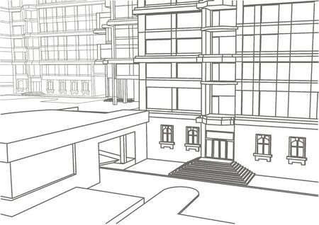 building sketch: architectural linear sketch of building in few levels