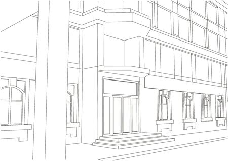 building entrance: linear architectural sketch building entrance