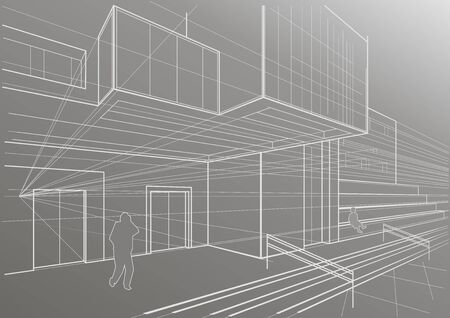 cubic: Architectural sketch of a cubic building Illustration
