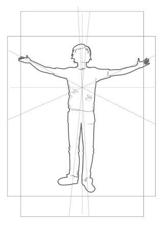 perspectiva lineal: silueta lineal de un niño en marcos