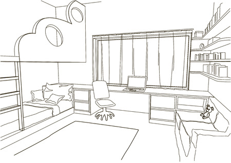 child room: linear architectural sketch child room Illustration