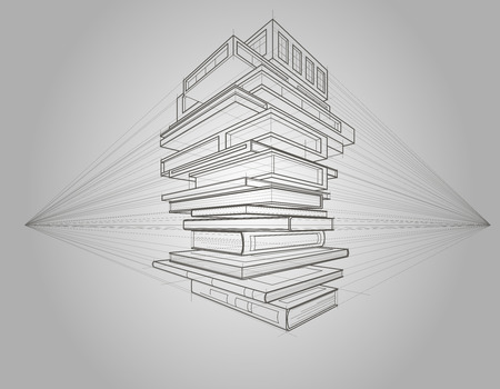 transformed: Concept linear sketch of books which are transformed to buildings