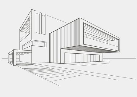Boceto lineal del edificio moderno en el fondo gris claro Foto de archivo - 40355074