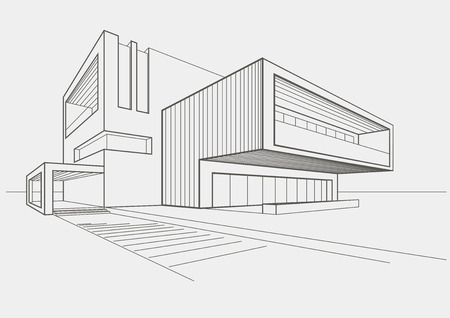 linear sketch of modern building on light gray background